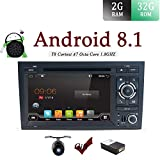 Android 7.1 Double Din Car Stereo Audi A4(2003-2011) CD DVD Player Car Radio Bluetooth Sat Nav 1024600 Head Unit Support Mirror Link DAB+ Subwoofer WiFi AV Out SWC AUX Canbus & Camera