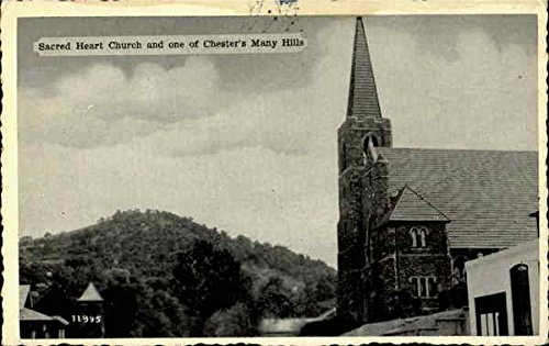 Sacred Heart Church And One Of Chester's Many Hills Chester, Pennsylvania Original Vintage Postcard