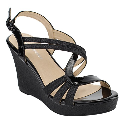 Forever FQ22 Womens Glitter Strappy Wrapped Wedge Heel Platform Sandals