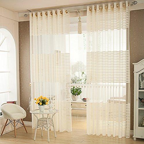 Cheap R.LANG Solid Grommet Top Stripes Embroidered sheer Curtain 1 Pair Creamy White 66″W X 90″ L