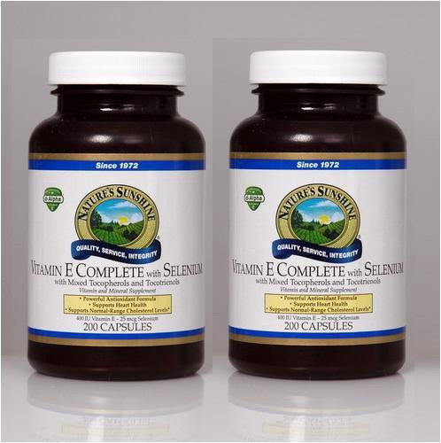 Naturessunshine Витамин Е В комплекте с Селен 400 МЕ Поддержка системы кровообращения 200 мягких капсул (в упаковке 2)