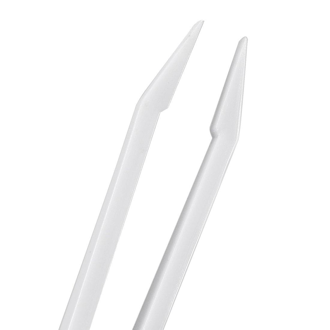 sourcingmap Black Plastic Curved Tip Anti-Static Tweezers 4.7 Inch Length 5pcs