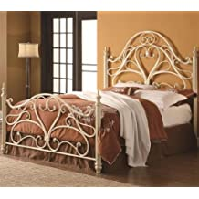 Coaster Queen Ornate Metal Headboard and Footboard in Egg Shell