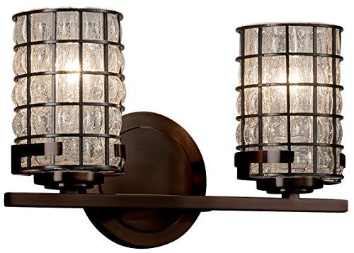 Justice Design Group Lighting WGL-8452-10-GRCB-DBRZ Wire Glass Atlas 2-Light Bath Bar, Dark Bronze