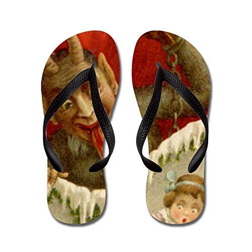 Cafepress Devil Krampus Navidad - Chanclas, Sandalias De Tanga Divertidas, Sandalias De Playa Negras