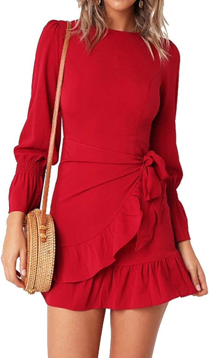 WomensLong Sleeve mini Dress, Wrap Dresses | Ruffle Dress for Women, Pretty Valentine Dresses
