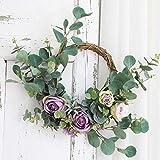 Heayoup Pretty Simulate Wreath Garland Floriation Hanging Pendant Decoration for Festival Wedding Party-40 Purple 38cm