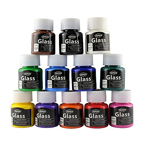 Glass Paint, 12 Colors Vibrant Glass Paint for Wine Glasses, Light Bulbs, DIY Painting (12 x 25ml)