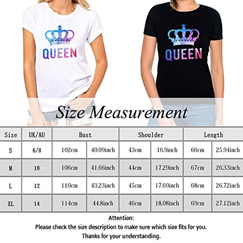 Bangerdei King and Queen Couples T-Shirts Anniversary Newlywed Matching Set Tops Valentines Gifts White 01 Women Queen M + Men King M by Bangerdei (Image #4)