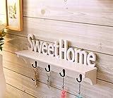 Mensola con ganci per chiavi Sweet home, per decorare la camera da letto, il soggiorno ecc.