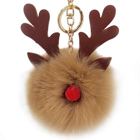 Pelota qinlee (de peluche llavero Cute Navidad alces llavero ...