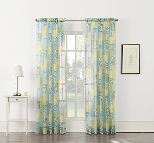 No. 918 Anaheim Patchwork Energy Efficient Curtain Panel, 51″ x 63″, Citrine Yellow