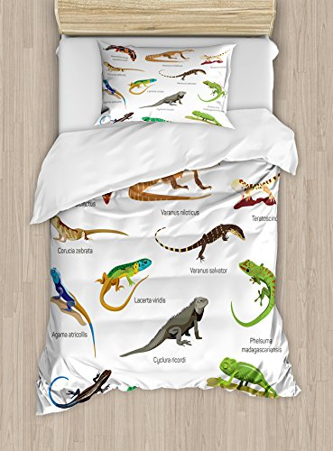 Lizard Little Bed Twin (Ambesonne Reptile Duvet Cover Set Twin Size, Lizard Family Design on Plain Background Primitive Camouflage Exotic Creatures, Decorative 2 Piece Bedding Set with 1 Pillow Sham, Multicolor)