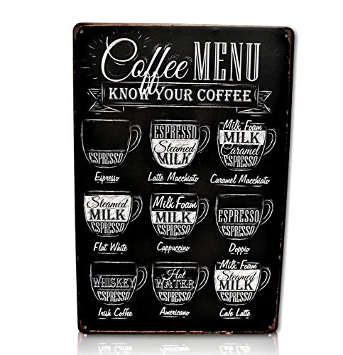 - Save Directly Coffee Menu Bar Metal Sign - Perfect for Your Home Decor, Kitchen, Coffee Bar, Cafe, Office, Workshop Know Your Coffee Vintage Retro Wall Signs Size: 8x12 Inches