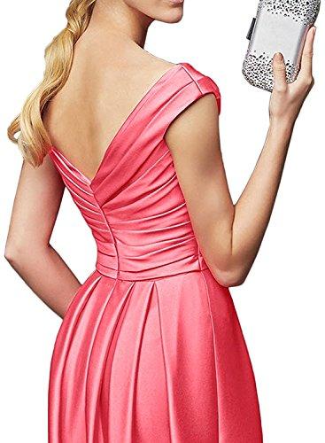 Marie Abendkleider Damen Royal La V Promkleider Ausschnitt Orange Bodenlang Brautmutterkleider Satin Braut Blau 4xgwqAfdw1