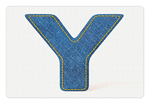 Ambesonne Letter Y Pet Mat for Food and Water, ABC of Vintage Fashion Theme Jeans Fabric Denim Texture and Uppercase Y Image, Rectangle Non-Slip Rubber Mat for Dogs and Cats, ()