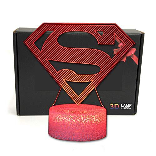LED Superhero 3D Optical Illusion Smart 7 Colors Night Light Table Lamp with USB Power Cable (Superman - Logo Wall Superman