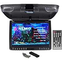 TView T137ADV 13 Black Flip Down Car Video Monitor DVD USB SD + Dome Lights