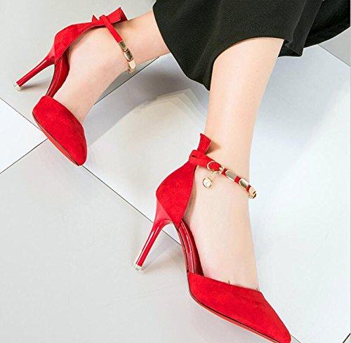 Chaussures Fin Girl Heels De Rouge High Mariage Élégant L'Embout Emploi Travail Et Femmes 9Cm 36 De Femmes Navettage Chaussures KHSKX Des UwIYXaqU