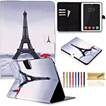 Tab 4 10.1 Case,Dteck(TM) Cartoon Cute Pattern Flip Stand Cover Magnetic Closure Smart Wallet Case[Card Slots][Auto Wake/Sleep Function] for Samsung Galaxy SM-T530/SM-T531 (02 Eiffel Tower)