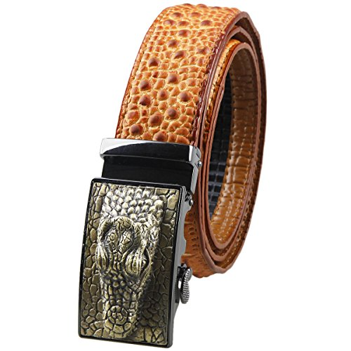 [Moonsix Leather Belts for Men 35mm Alligator Crocodile Embossed Dress Belt with Ratchet Buckle,Red Brown] (Brown Crocodile Belt)