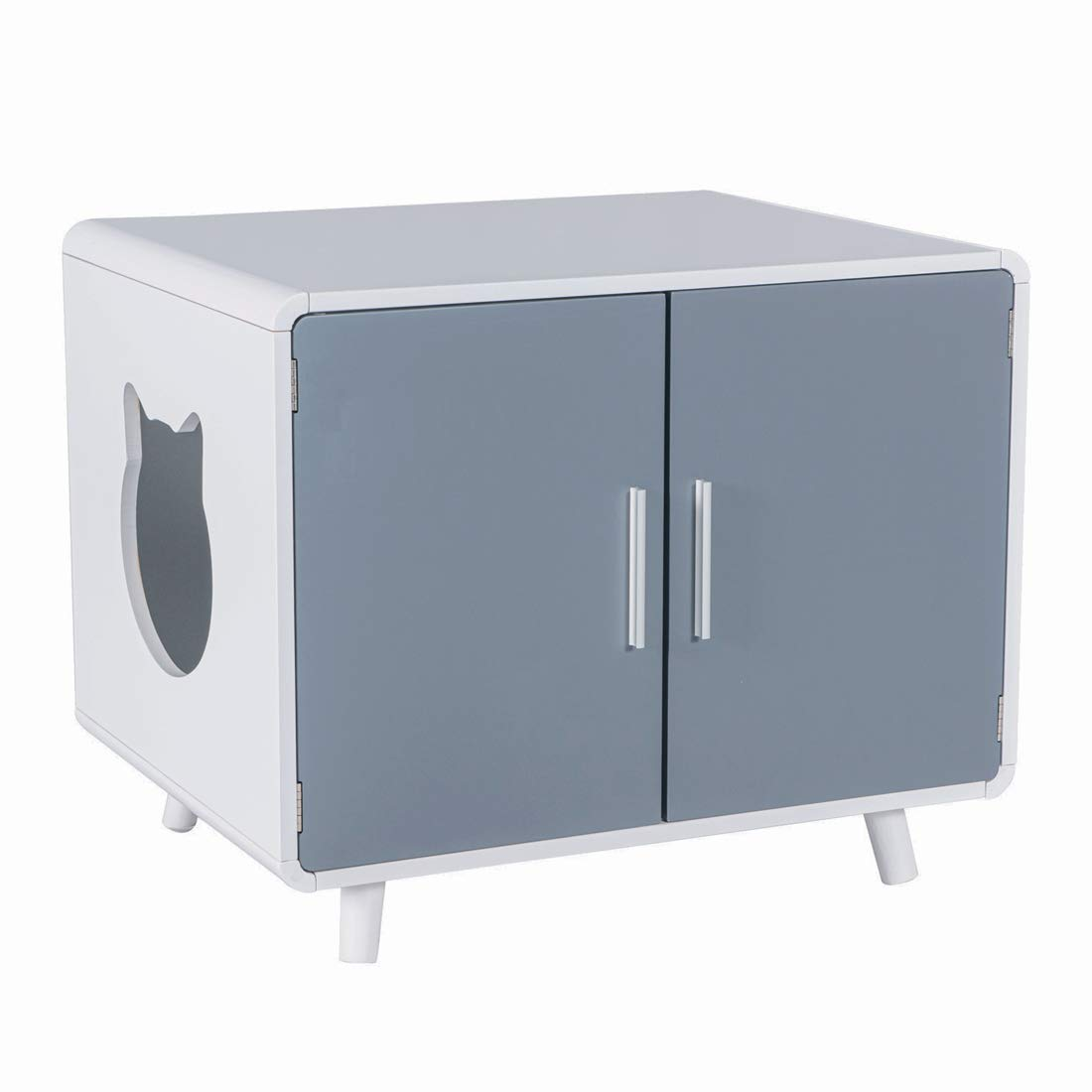 Good Life Safe Furniture Style Cat Kitty Litter Box Covered Crate with Storage - Large Wooden Pet House with Table Nightstand - for Washroom or Pet Bed - Home Designer Look (Grey & White) by GOOD LIFE USA