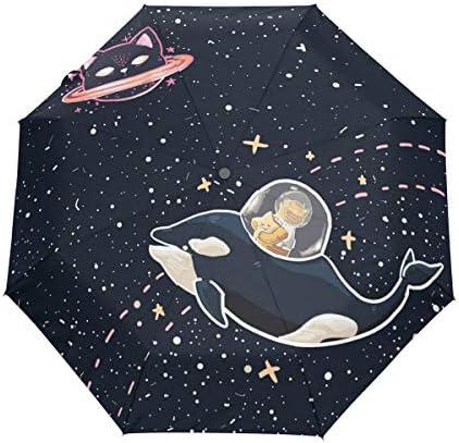 Chovy 日傘 UVカット ワンタッチ 折りたたみ傘 軽量 自動開閉 遮光 レディース メンズ 晴雨兼用 ねこ 猫柄 星 星柄 おもしろ 宇宙 鯨 黒 ブラック 雨傘 傘 晴雨傘 折り畳み 8本骨 遮熱 丈夫 耐風撥水 収納ポーチ付き プレゼント