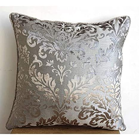 Gray Silver Damask 18x18 Pillow Case THC697GraySilverDamask18IN Damask Pillow Cover The HomeCentric Luxury Grey Throw Pillow Covers Floral Contemporary Pillow Covers 18x18 Pillow Case Square Burnout Velvet Pillows Covers for Couch
