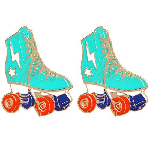 Charmart Roller Skates Lapel Pin 2 Piece Set Skating Shoes Enamel Brooch Pin Denim Jacket Collar Badges Gifts