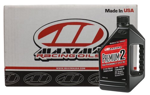 Maxima CS21901-12PK Premium 2 Smokeless 2-Stroke Premix/Injector Engine Oil - 1 Liter Bottle, (Case of 12) by Maxima