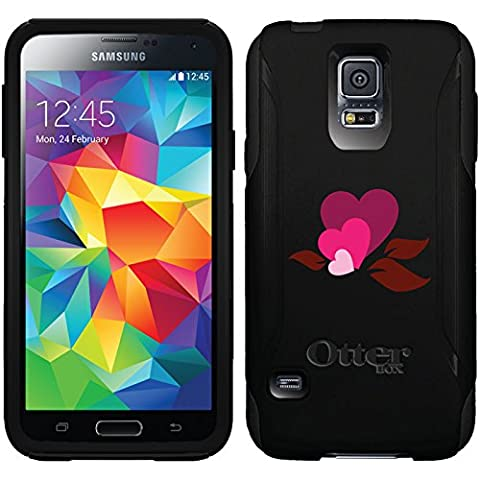 Hearts And Leaves design on Black OtterBox Commuter Series Case for Samsung Galaxy S5 (Otterbox Samsung Galaxy S5 Skin)