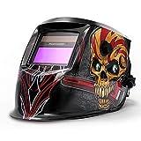 FOOWOO Solar Powered Welding Helmet Auto Darkening Hood with Adjustable Shade Range 4/9-13 for Mig Tig Arc Plasma, Professiona Welder Mask, 1CR2032 Lithium Replacement Battery Included Skull Design