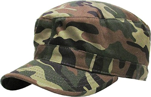 (KBK-1464 CAM M Cadet Army Cap Basic Everyday Military Style Hat Camo)