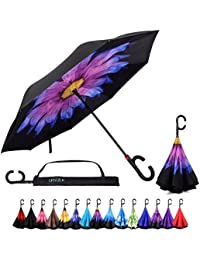 Reverse Inverted Auto Open Umbrella - Upside Down Windproof Umbrellas for Women and Men (15 Designs)