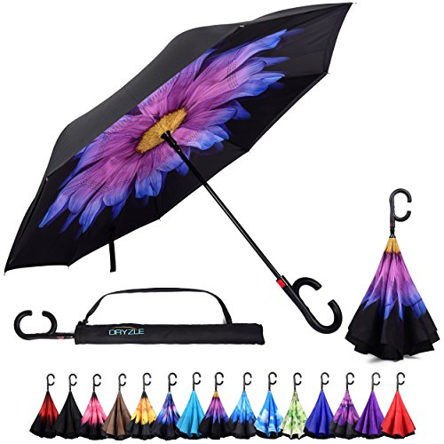 Dryzle Reverse Inverted Auto Open Umbrella by Upside Down Windproof Umbrellas for Women and Men (15 Designs) (Umbrella Down)