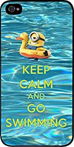 Keep Calm and Go Swimming- Hard Black Plastic Snap - On Case with Soft Black Rubber Lining-Apple Iphone 4 - 4s - Great Quality!