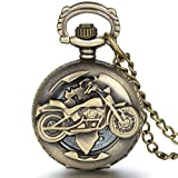 JewelryWe Fathers Day Gifts Motorcycle Pocket Watch With Chain Quartz Movement Arabic Numerals Half Hunter Vintage Design
