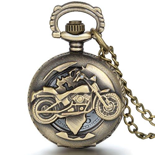 JewelryWe Motorcycle Pocket Watch With Chain Quartz Movement Arabic Numerals Half Hunter Vintage Design