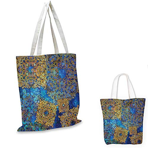 "Ethnic canvas laptop bag Traditional Persian Motif Oriental Moroccan Effects Exotic Style Boho Design canvas tote bag with pockets Light Coffee Blue. 12""x15""-10"""