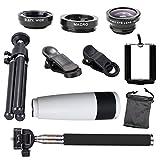Jaylinna Universal HD 10 in 1 Camera Lens Kit 8/12x Cell Phone Telephoto Telescope Lens+Fish Eye Lens+Wide Angle+Macro Lens+Selfie Stick Monopod+Mini Tripod(8x,white)