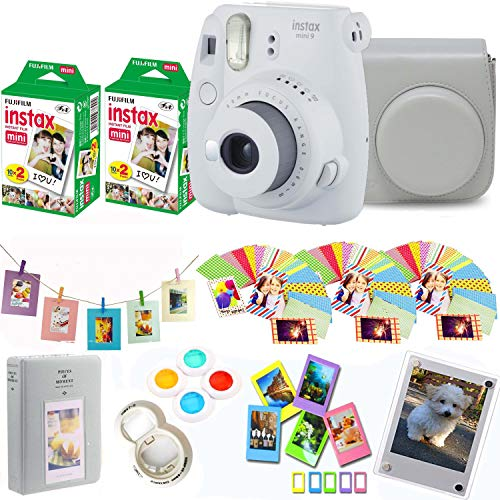Fujifilm Instax Mini 9 – Smokey White Instant Camera + Fuji Instax Film 40 Shots + Protective Case + Magnetic Acrylic Frame+Album, Hanging Frames, Desk Frames, Filters & Selfie Lens 90 PC Design Kit
