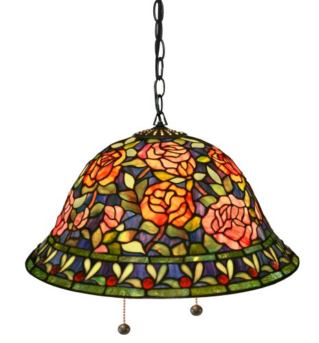 tiffany style southern belle rose hanging lamp. Black Bedroom Furniture Sets. Home Design Ideas