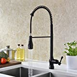 Bar Sink Faucet Oil Rubbed Bronze Delle Rosa Commercial Style High Arch Heavy Duty Soft Single Handle Pull Down Pre-rinse Sprayer Kitchen Sink Faucet