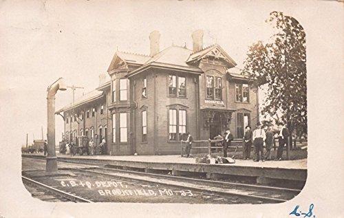 Real Photo Postcard C.B. O. Railroad Depot in Brookfield, Missouri~110637 -