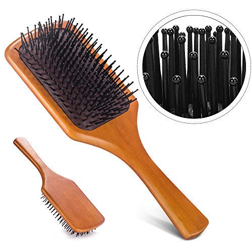 Mastertop Large Square Bamboo Paddle Brush Massage Pins Brush | Comb for Straight, Curly, Wavy, Long, Short Hair Women and Men(100% Natural Bamboo Scalp Massaging Bristles)