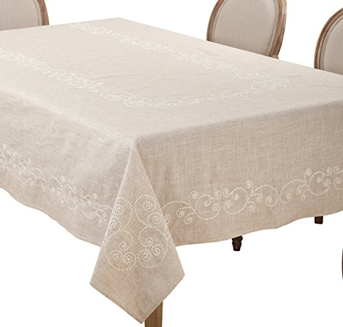 - SARO LIFESTYLE Embroidered Swirl Design Linen Blend Tablecloth/001.N67160B, 67
