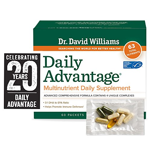 Dr. David Williams' Daily Advantage Multi-Nutrient Vitamin Supplement with Clinical Grade CodMarine Oil for Boundless Energy and Total Body Wellness, 60 Packets (30-Day Supply)