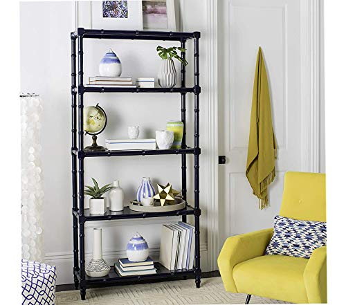Wood & Style Home Ebo Modern Coastal 4 Tier Etagere Navy Decor Comfy Living Furniture Deluxe Premium Collection