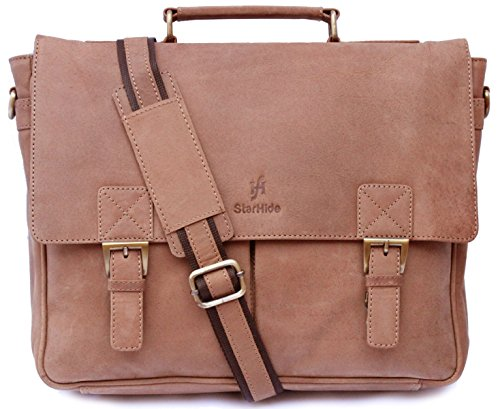 Starhide Hunter, borsa marrone anticata, in vera pelle, borsetta viaggio ventiquattrore, cartella a tracolla ufficio, 38,1cm regolabile–535
