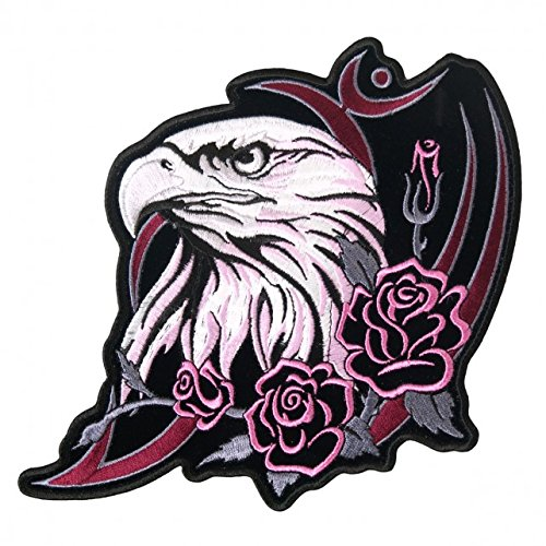 Hot Leathers, GLITTER EAGLE HEAD, Exceptional Quality Iron-On / Saw-On, Heat Sealed Backing Rayon PATCH - 4